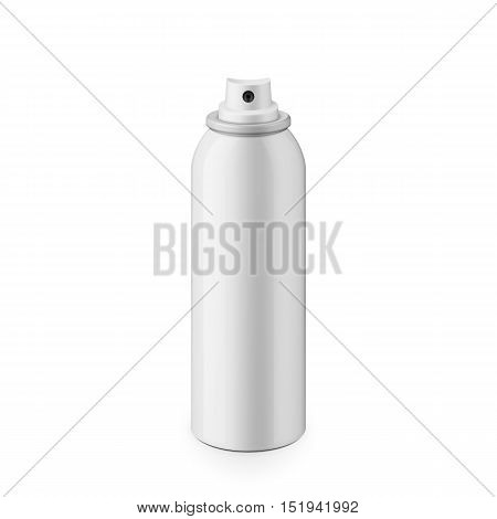 White glossy metal spray bottle without cap. Realistic packaging mockup template. Eye-level shot.