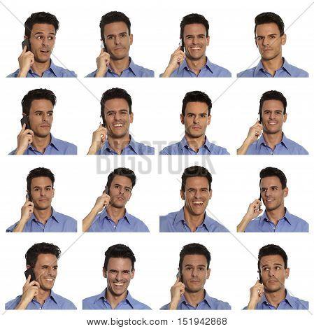 Compilation businessman portraits close ups talking on mobile