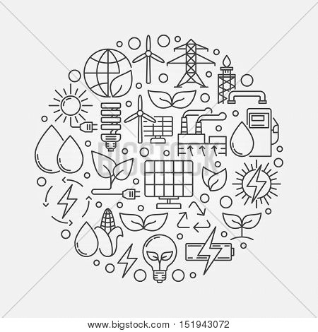 Green and alternative energy illustration. Vector round creative alternative energy sources sign