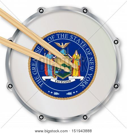 New York state seal snare drum batter head with tuning screws and with drumsticks over a white background