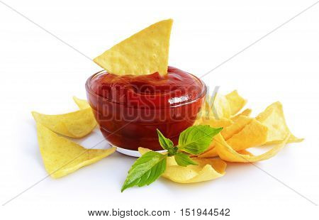 Nachos Corn Chips And Red Sauce