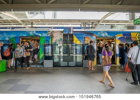BANGKOK THAILAND 15 OCT 2016 : The passenger using BTS Skytrain at Phayathai station in Bangkok Thailand.