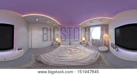 3d illustration spherical 360 degrees, seamless panorama of bedroom interior design. The bedroom is made in white and purple tones