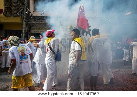 Hatyai, Songkhla Vegetarian Festival in Thailand.  Date Oct. 7, 2016. People celebrate a vegetarian festival during the festival ritual mortification is practiced to appease the Gods.Action photography Capturing movement.