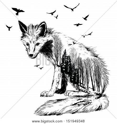 Vector Double Exposure, Fox, Wildlife Concept