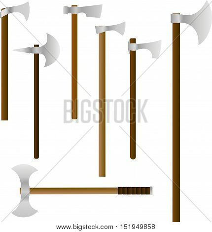 Vector set of medieval battle axes. The battle-axes are similar to their historical prototypes from Europe of the Middle Ages. Simple pseudo-realistic style.