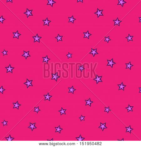 Stars chaotic seamless pattern. Fashion graphic background design. Modern stylish abstract texture. Color template for prints textiles wrapping wallpaper website etc. Stock VECTOR illustration