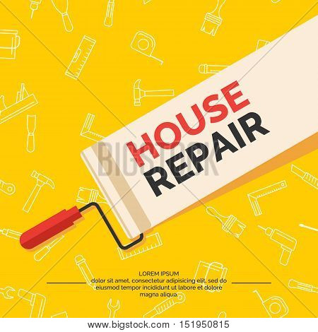 Hand tools for home renovation and construction. Tools in a bright flat style. A colorful poster vector illustration. Roller brush paint building level.