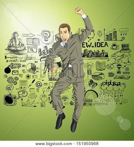 Vector happy businessman with hands up, celebrating his victory