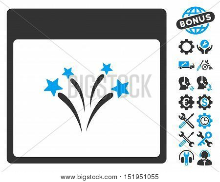 Fireworks Calendar Page pictograph with bonus service clip art. Vector illustration style is flat iconic symbols, blue and gray, white background.