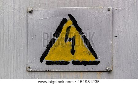 Attention sign, high voltage sign, high voltage warning sign, attention icon, grunge electricity