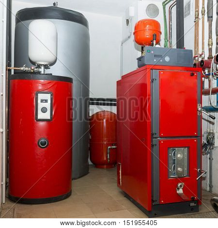 Firewood Boiler And Puffer Thank In The Boiler Room