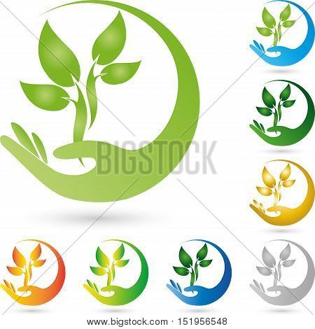 A hand and plant, leaves, nature and naturopathic logo