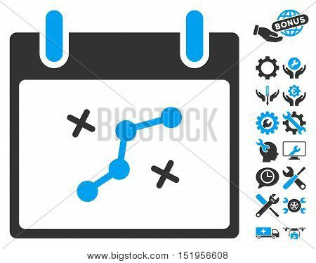 Path Points Calendar Day icon with bonus tools images. Vector illustration style is flat iconic symbols, blue and gray, white background.