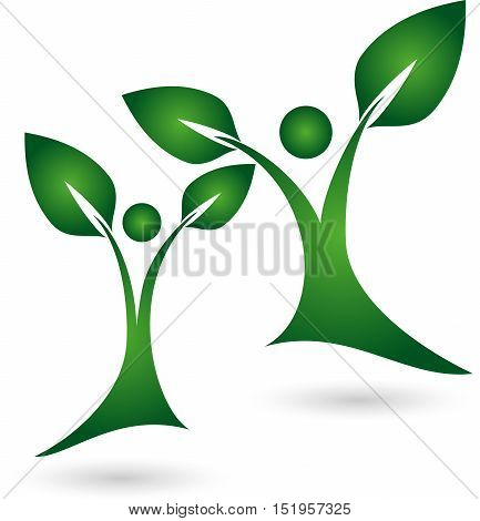Two persons as plants, leaves, nature and naturopathic logo