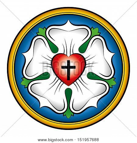 Luther rose colored calligraphic illustration. Also Luther seal, symbol of Lutheranism. Expression of theology and faith of Martin Luther, consisting of a cross, an heart, a single rose and a ring.