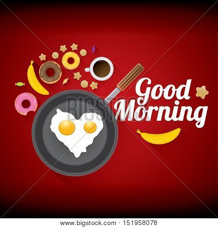 good morning concept. breakfast fried hen or chicken egg with coffee cup , sweet donuts, cookies, fruits. vector food collage background