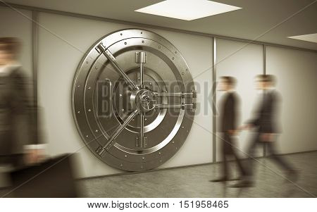 Bank employee is walking to his workplace. Two his colleagues are entering the vault. Concept of bank work. 3d rendering