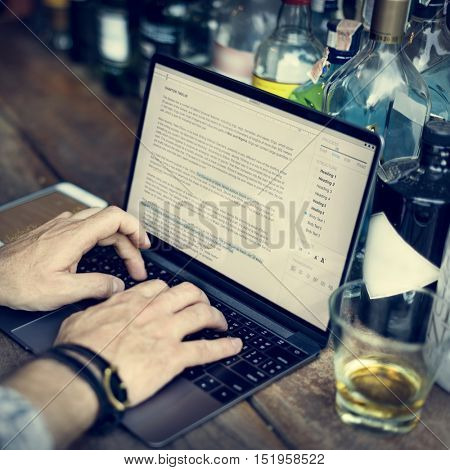 Hobby Writer Working Typing Article Concept