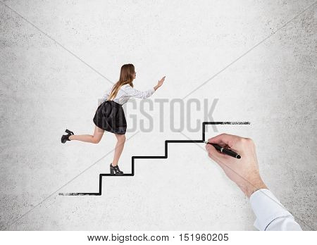 Woman in office clothes running up the stairs drawn on concrete wall with large man's hand. Concept of males oppressing females. Mock up