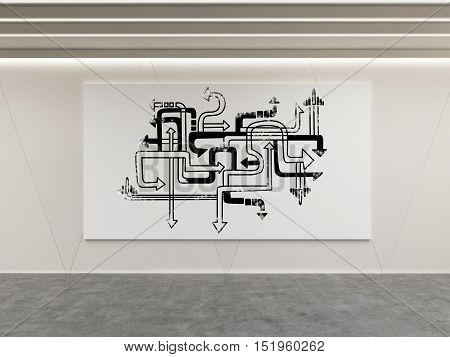 Sketch of tangled white and black arrows on horizontal poster in room with concrete floor. 3d rendering