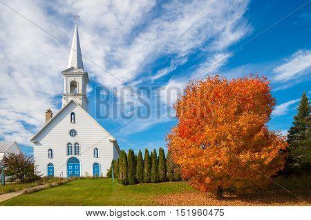 Entrelacs Church in Autumn Laurentides Quebec Canada