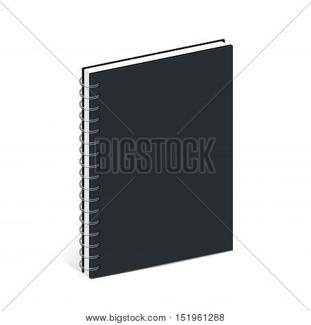 Blank Spiral Notebook Template. Black covers. Isometric view on white background. Realistic mockups. Vector illustration