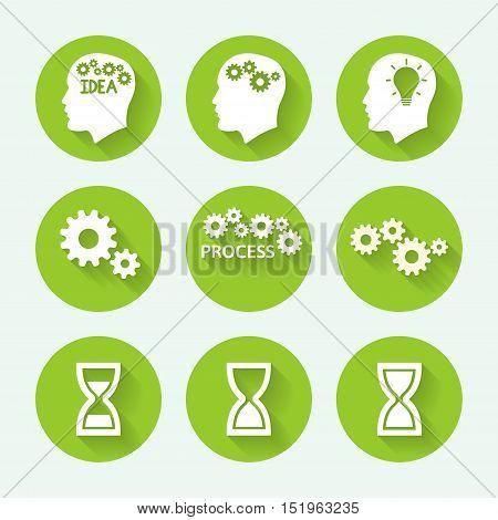 Processes green icon set, flat design. Vector illustration