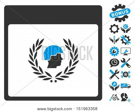 Soldier Laurel Wreath Calendar Page icon with bonus configuration graphic icons. Vector illustration style is flat iconic symbols, blue and gray, white background.