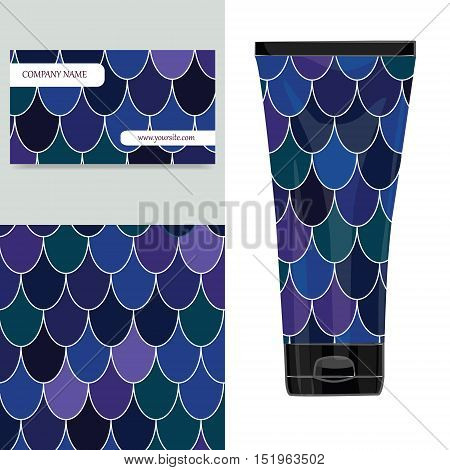Cream tube pattern with Moroccan Fish Scales. Vector illustration. Visit card packaging for organic cosmetic.