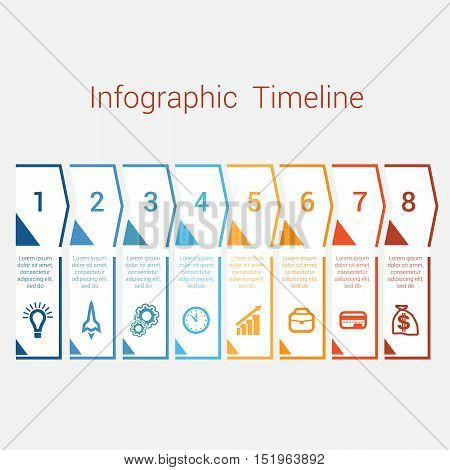 Timeline Infographic colored arrows from lines. Area chart Business Infographic template with text areas for eight position Eps file is layered and fully organised objects are grouped