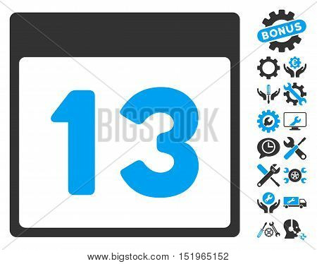 Thirteenth Calendar Page pictograph with bonus service pictograms. Vector illustration style is flat iconic symbols, blue and gray, white background.