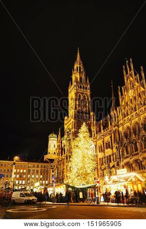 MUNICH - NOVEMBER 30: Overview of Marienplatz with people on November 30 2015 in Munich. It's the 3rd largest city in Germany after Berlin and Hamburg with a population of around 1.5 million.