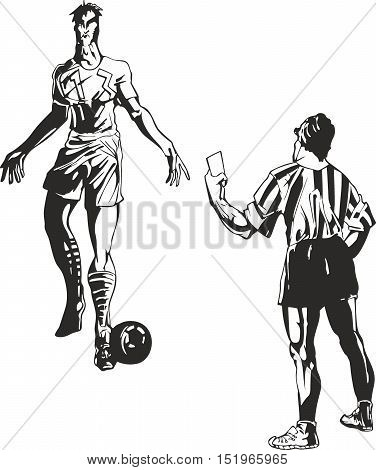 Soccer Referee Takes A Card To Player