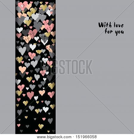 Gray vertical design with hearts confetti on black stripe background. Romantic trendy heart frame. Valentine day design for love card, valentine day greetings. Vector illustration stock vector.