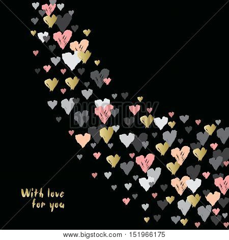 Black corner design with hearts confetti swirl on black background. Romantic trendy heart frame. Valentine day design for love card, valentine day greetings. Vector illustration stock vector.