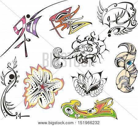Collection of various fantasy tattoo sketches including abstract designs animals flowers pinstripes and vignettes