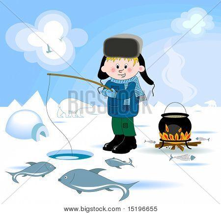 Boy doing winter fishing - vector illustration