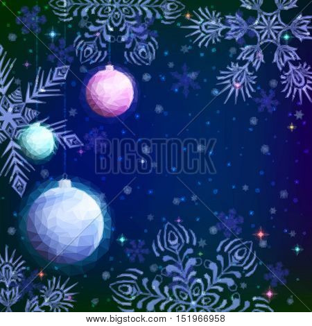 Holiday Low Poly Christmas Background, Colorful Glass Balls Decoration and Snowflakes on Blue Sky, Illustration for Web Design. Vector