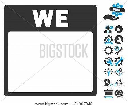 Wednesday Calendar Page icon with bonus configuration icon set. Vector illustration style is flat iconic symbols, blue and gray, white background.