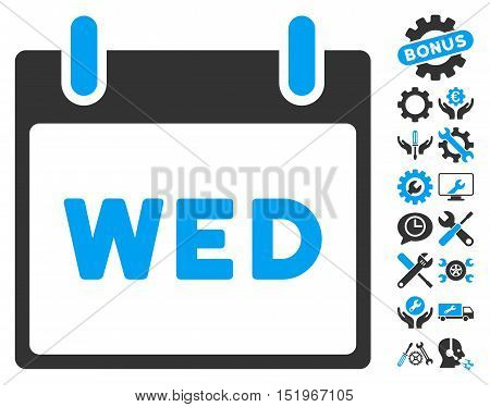 Wednesday Calendar Page icon with bonus options images. Vector illustration style is flat iconic symbols, blue and gray, white background.
