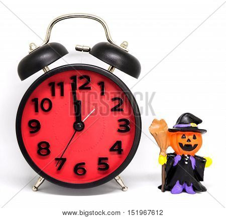 Count down clock pumpkins ghost toy isolated
