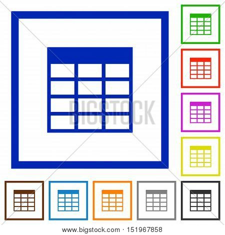 Set of color square framed Spreadsheet table flat icons