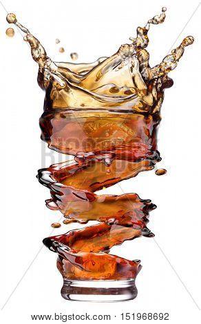 Cola splash isolated on white background