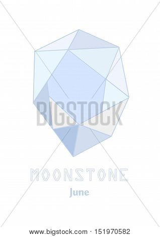 Moonstone gem stone, Pale blue crystal, Gems and mineral crystal, June birthstone gemstone
