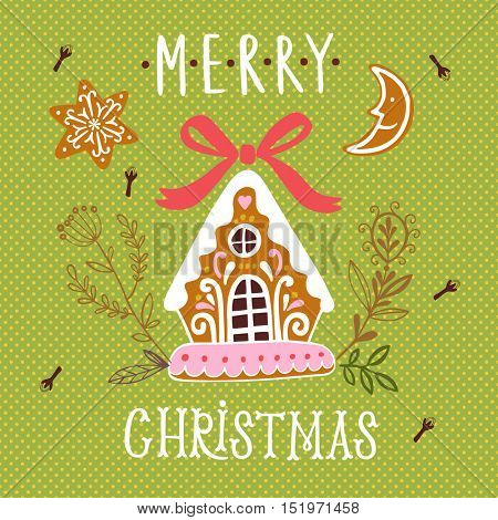 Vector Merry Christmas illustration with gingerbread house on green background