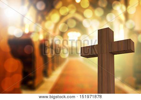 3D Rendering Of Wooden Cross In Blurred Church Interior