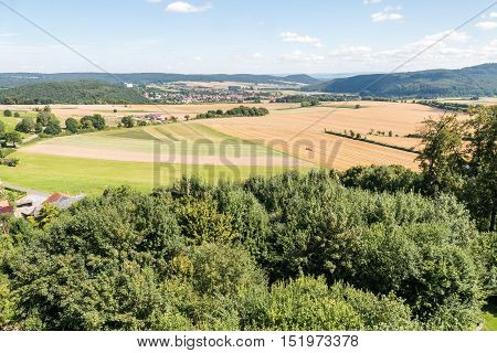 View from the ruin tower Burg Lowenstein in Bad Zwesten in Germany.