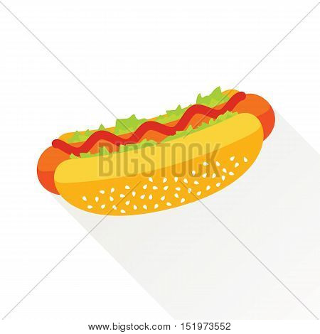 Delicious hotdog with ketchup and vegetables. Isolated flat icon. Fast food symbol for poster, menus, brochure and web. Vector eps8 illustration.