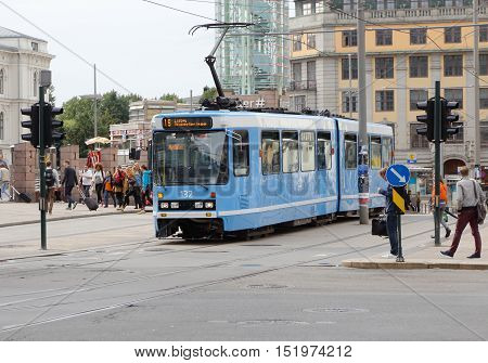 Oslo, Norway - September 16, 2016: Tram of type SL79 on line 19 at Jernbanetorget.